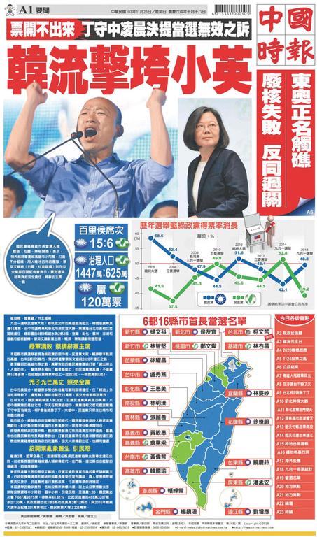 中國時報 2018年11月25日