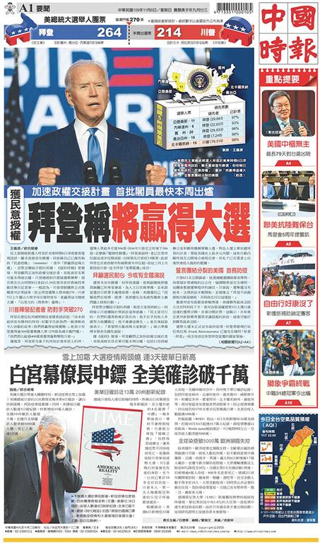 中國時報 2020年11月8日