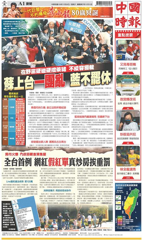 中國時報 2020年11月28日